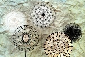 dandelions on the wrinkled paper
